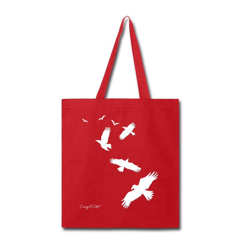 Flock of Birds Cotton Canvas Tote Bag - red