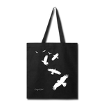 Flock of Birds Cotton Canvas Tote Bag - black