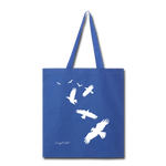 Flock of Birds Cotton Canvas Tote Bag - royal blue