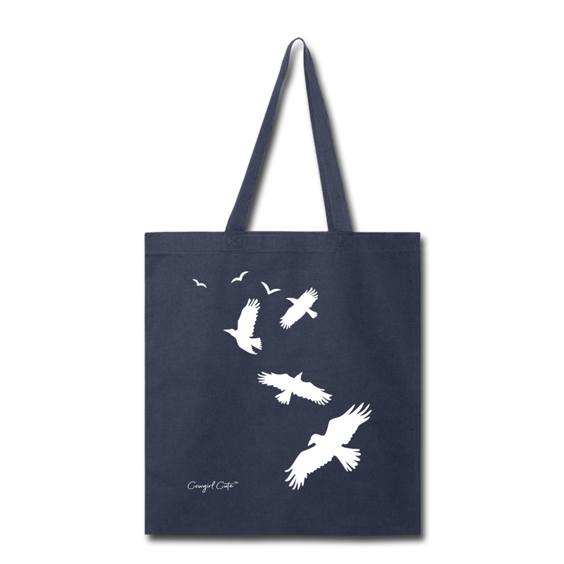 Flock of Birds Cotton Canvas Tote Bag - navy