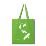 Flock of Birds Cotton Canvas Tote Bag - lime green