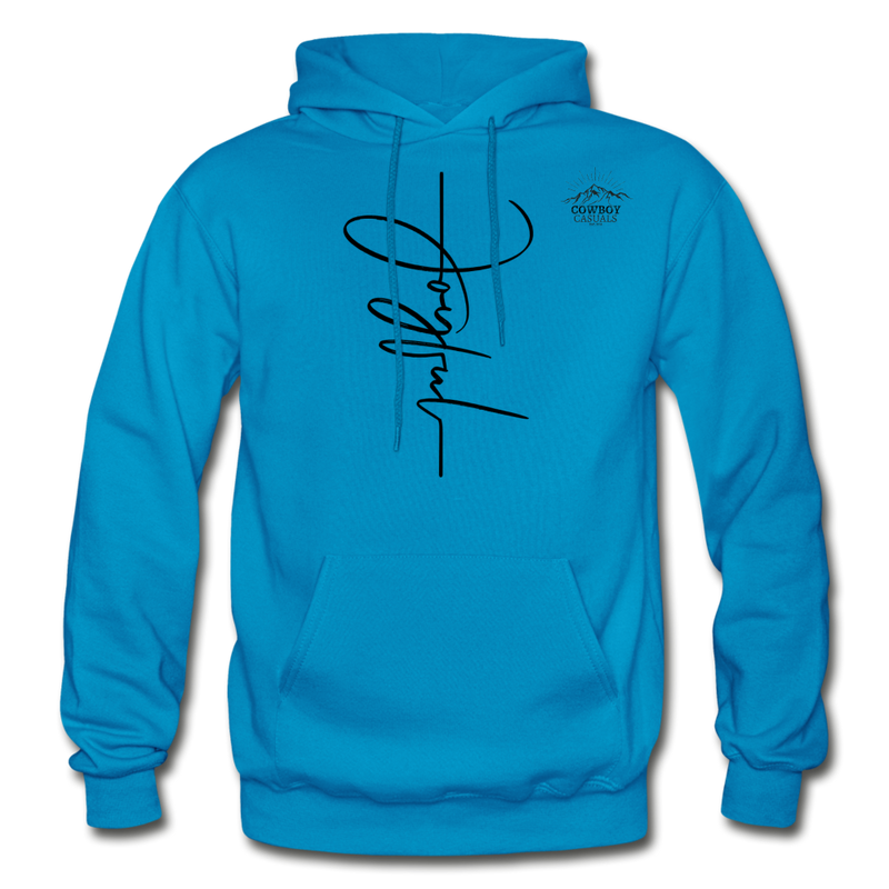 Joyful Graphic Cowboy Casuals Hoodie - turquoise
