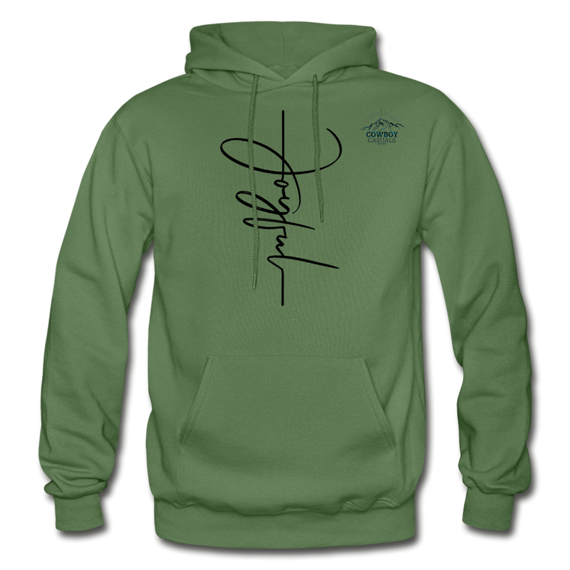 Joyful Graphic Cowboy Casuals Hoodie - military green