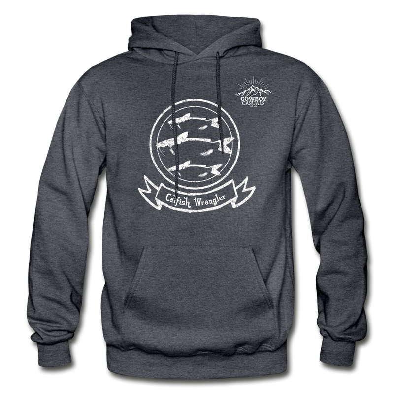 Catfish Wrangler Cowboy Casuals Hoodie - charcoal gray