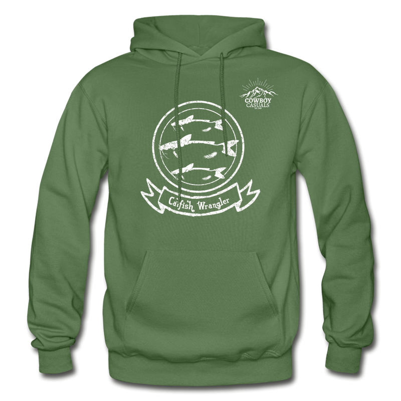 Catfish Wrangler Cowboy Casuals Hoodie - military green