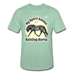 Reining Horse Spirit Animal Heather Tee - heather prism mint