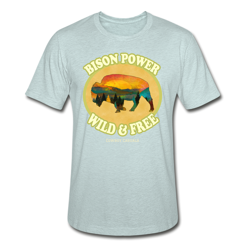 Bison Power Heather Tee - heather prism ice blue