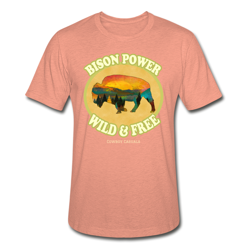 Bison Power Heather Tee - heather prism sunset