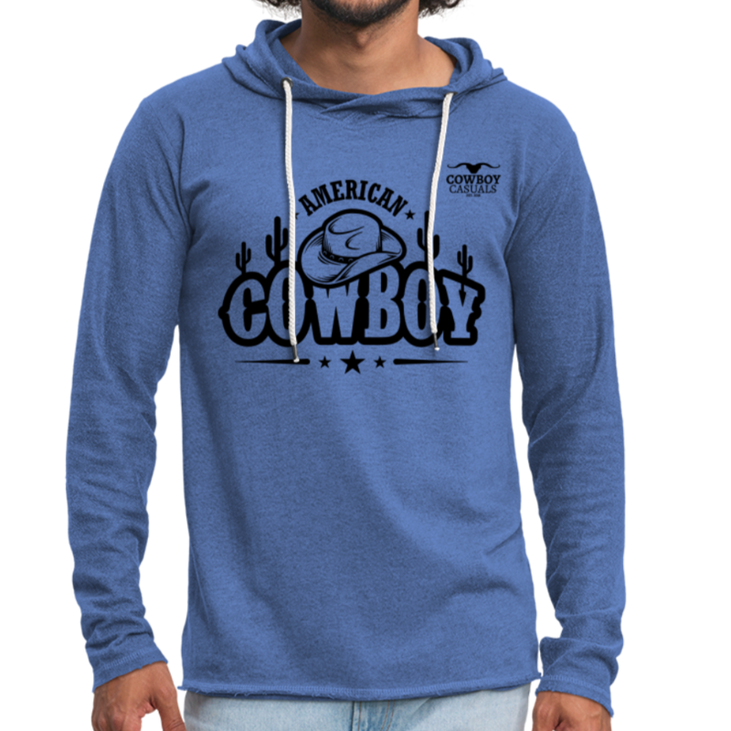 American Cowboy Terry Hoodie - heather Blue