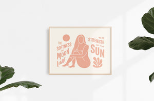 Sun and Moon Art Print | Dusty Rose