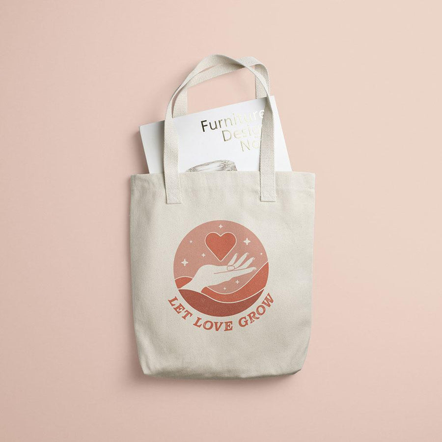 Valiant Daughter Collective feminist canvas tote bag let love grow pink