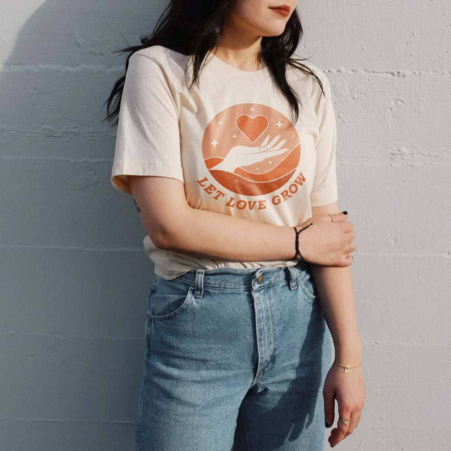 Valiant Daughter Collective feminist vintage t shirt let love grow cream