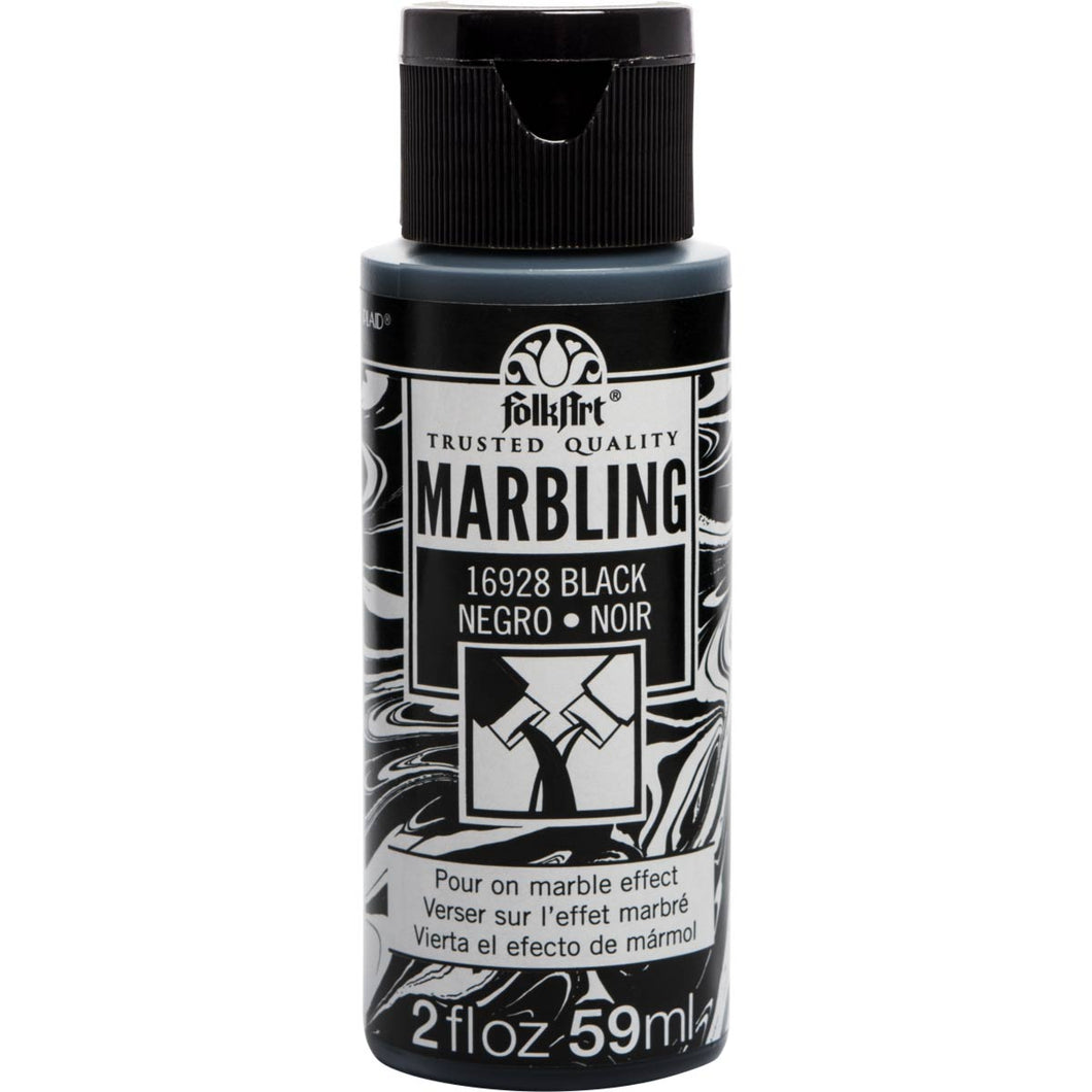 Plaid Folkart Marbling Paint Black 2oz