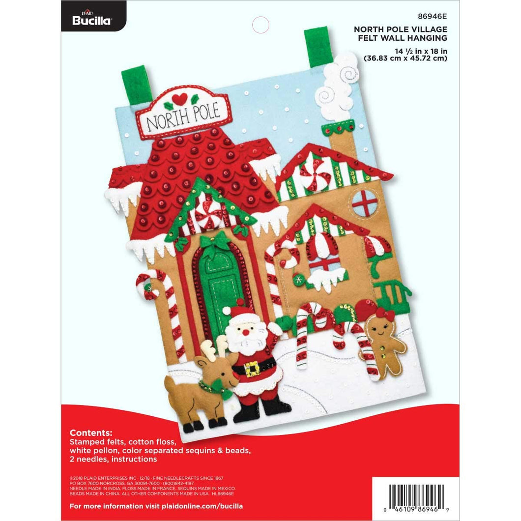 Bargain Corner - Bucilla North Pole Village Felt Wall Hanging Kit
