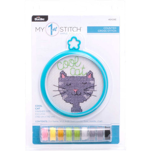 Bucilla Cross Stitch My 1st Stitch Mini Kit - COOL CAT
