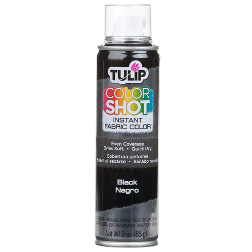 Tulip Colour Shot Black 3oz - Fabric Aerosol Spray Paints