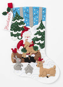 Bucilla Felt Stocking - Santa Forest Animals