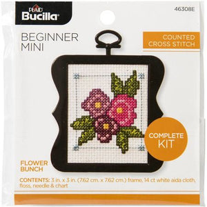 Bucilla Cross Stitch Counted X-Stitch Mini Beginner Kit - FLOWER BUNCH