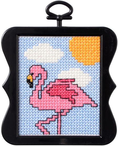 Bucilla Cross Stitch Counted X-Stitch Mini Beginner Kit - FLAMINGO