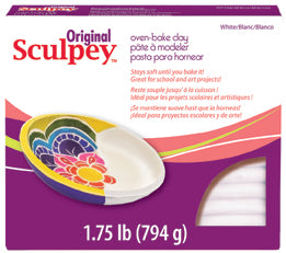 Original Sculpey S2 White 1.75 lb / 794 g - Polymer Clay Modelling pack