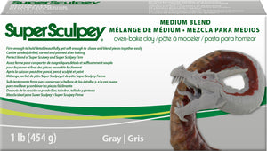 Super Sculpey Medium Blend Gray (1lb) THREE PACK