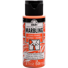 Plaid Folkart Marbling Paint Orange 2oz
