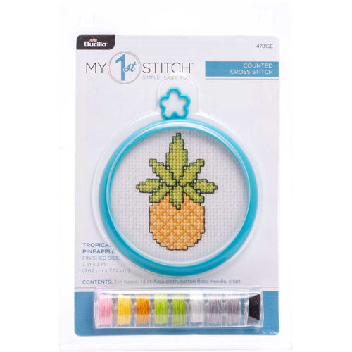 Bucilla Cross Stitch My 1st Stitch kit - TROPICAL PINEAPPLE