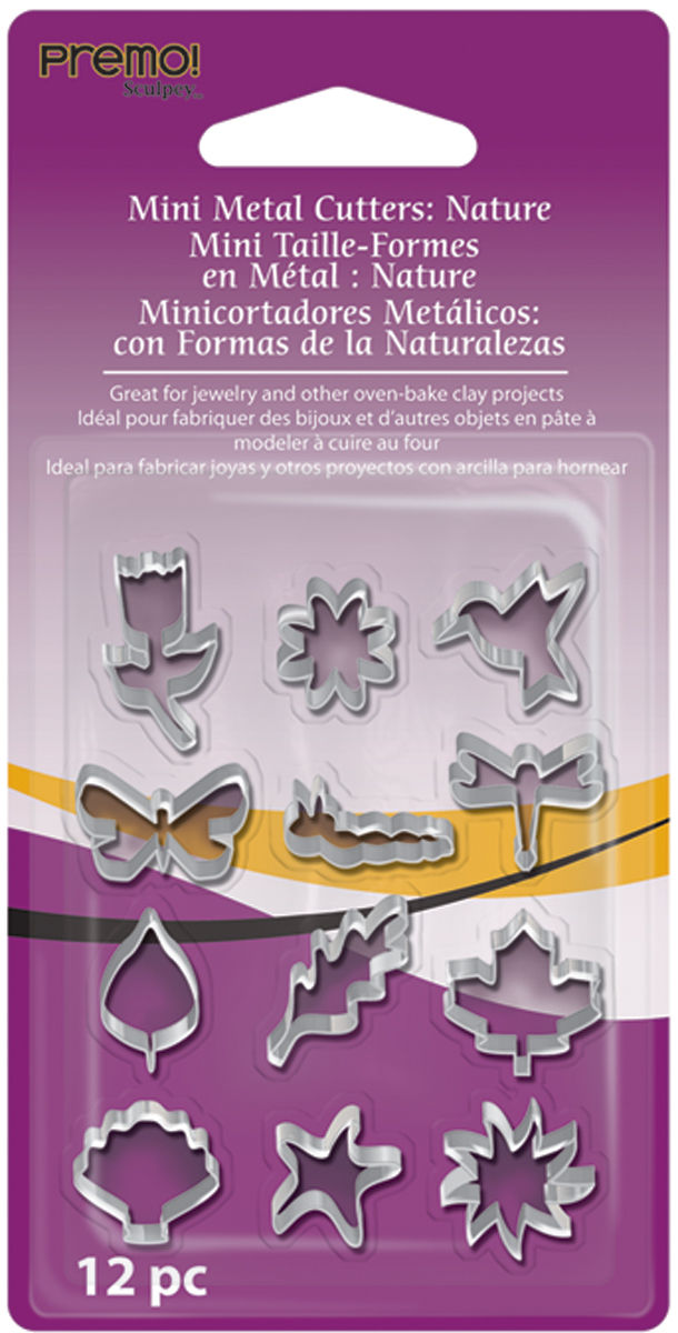 Premo Mini Metal Cutters Nature 12 pc AMMCNT Sculpey Polymer Clay