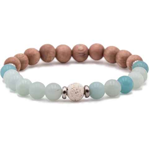 Amazonite & Bois de rose