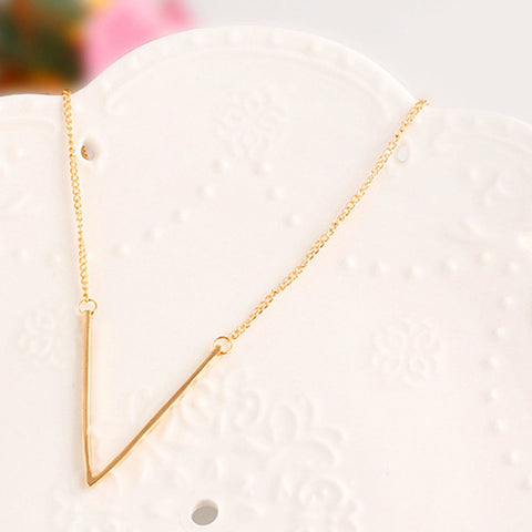 Alloy Deep V Shaped Pendant Necklace