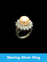 Sterling Silver Ring Amazing Pearl