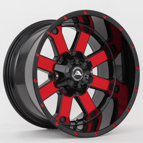 A108 Black Machined Red