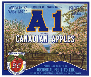 A1 Brand Vintage Canadian Apple Crate Label, blue