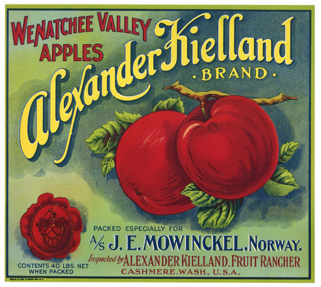 Alexander Kielland Brand Vintage Washington Apple Crate Label