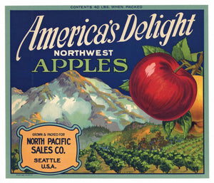 AMERICA'S DELIGHT Brand Vintage Apple Crate Label (A006)