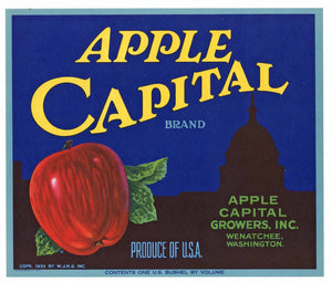 Apple Capital Brand Vintage Wenatchee Washington Apple Crate Label