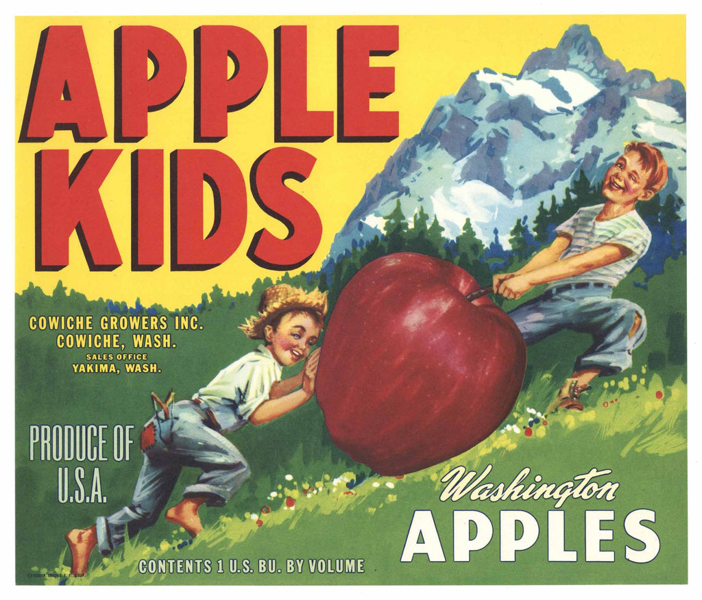 Apple Kids Brand Vintage Cowiche Washington Apple Crate Label