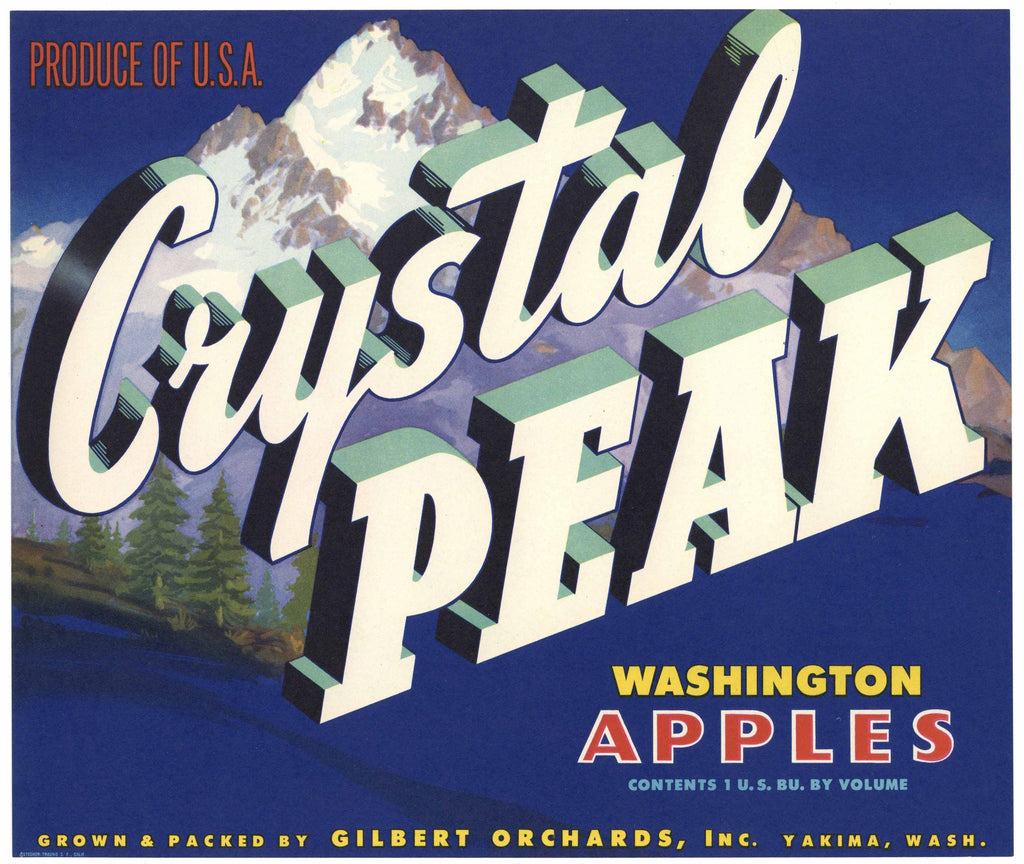 Crystal Peak Brand Yakima Washington Apple Crate Label