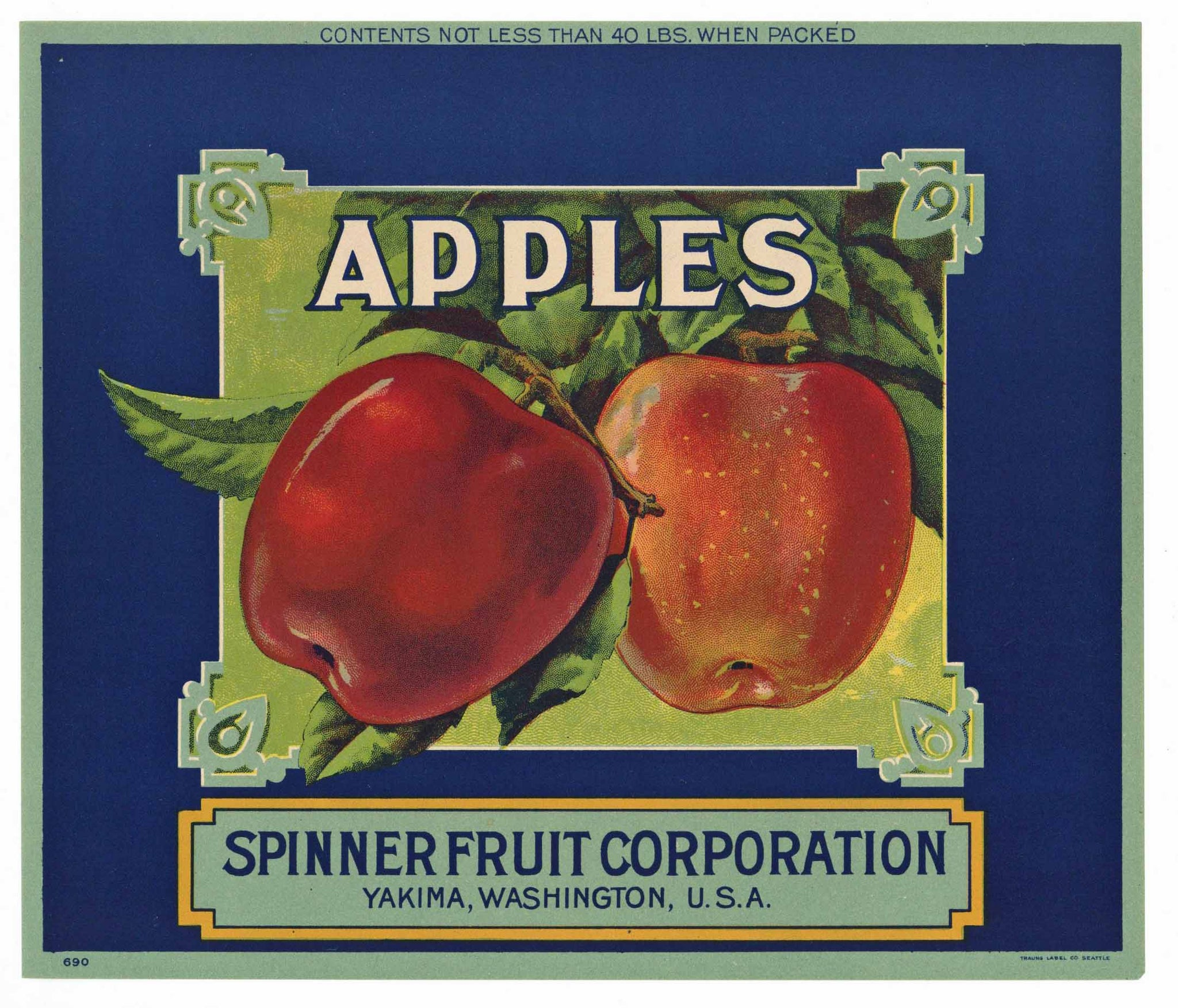 Apples Brand Vintage Yakima Washington Apple Crate Label