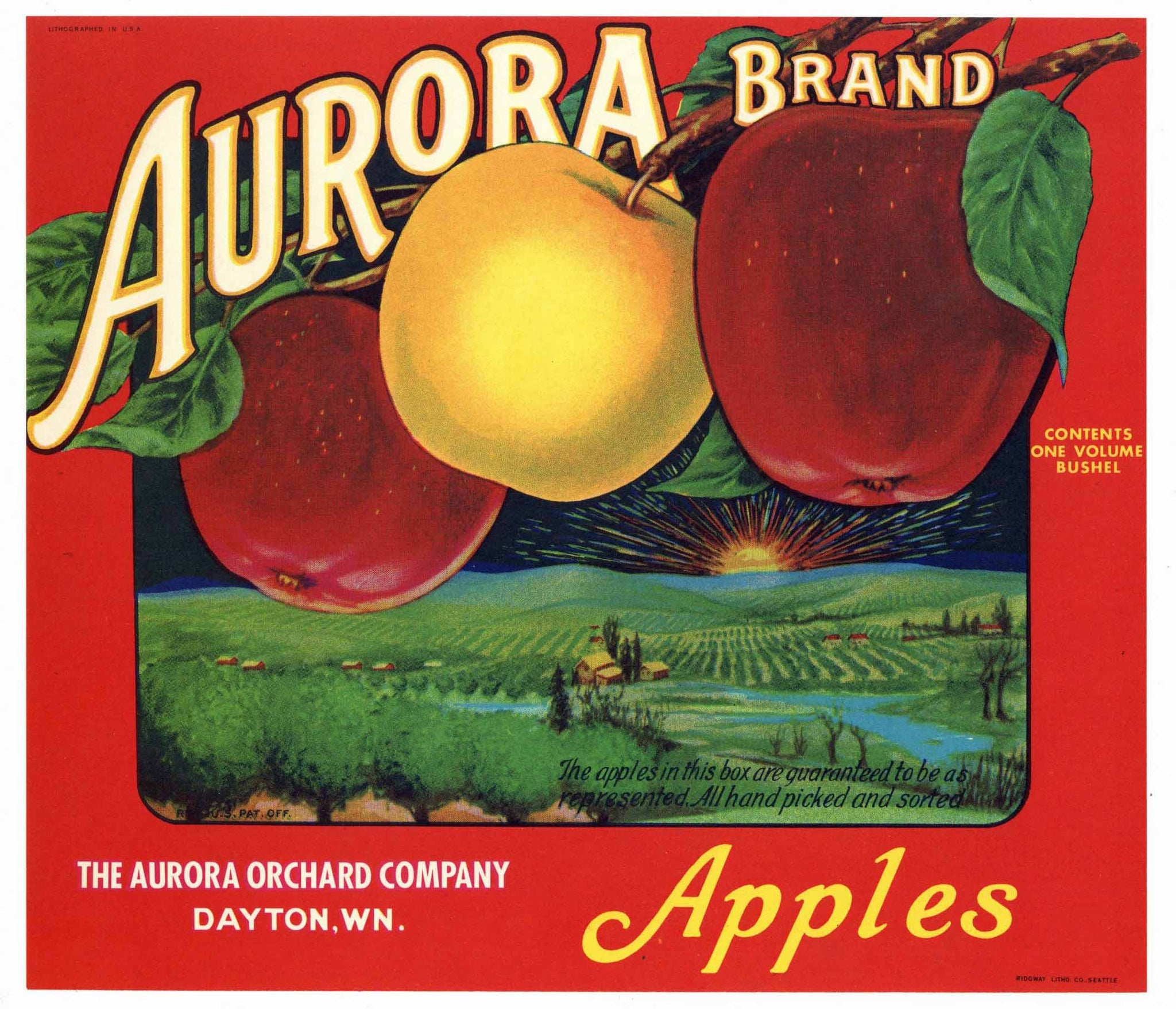 Aurora Brand Vintage Apple Crate Label, red