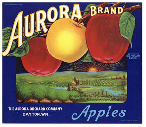 Aurora Brand Vintage Apple Crate Label, blue