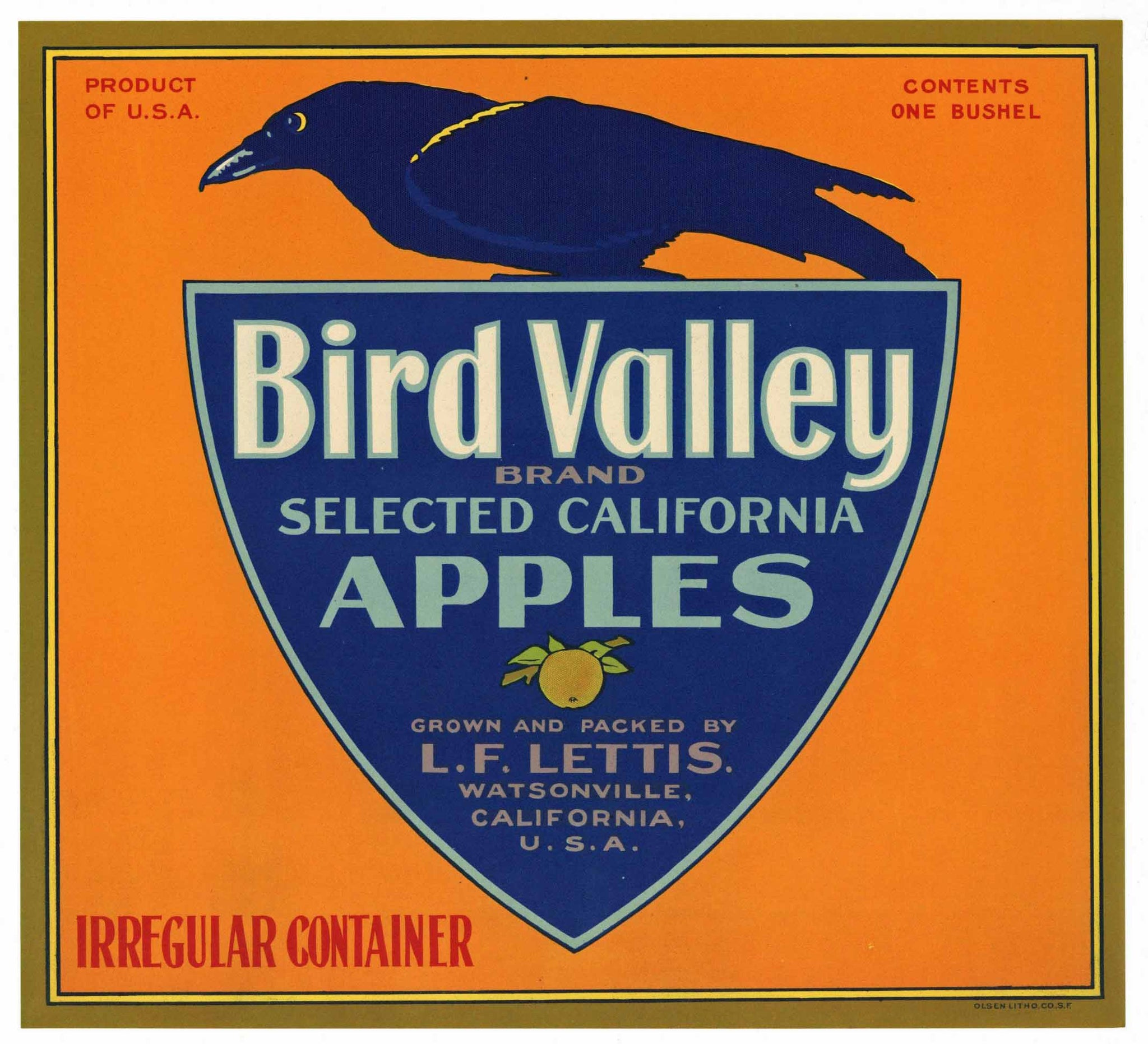 Bird Valley Brand Vintage Watsonville Apple Crate Label
