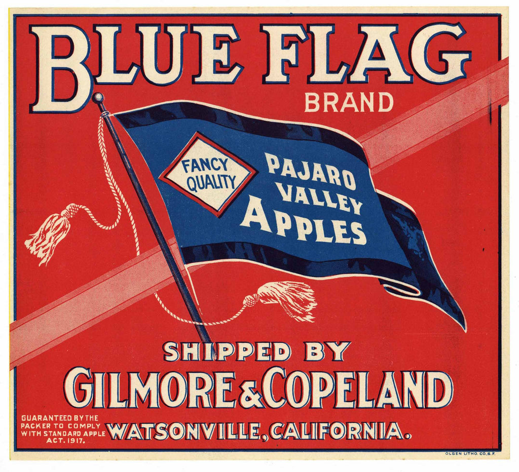 Blue Flag Brand Vintage Watsonville Apple Crate Label