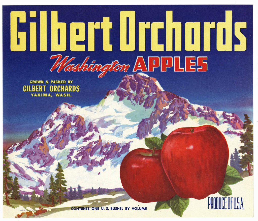 Gilbert Orchards Brand Yakima Washington Apple Crate Label