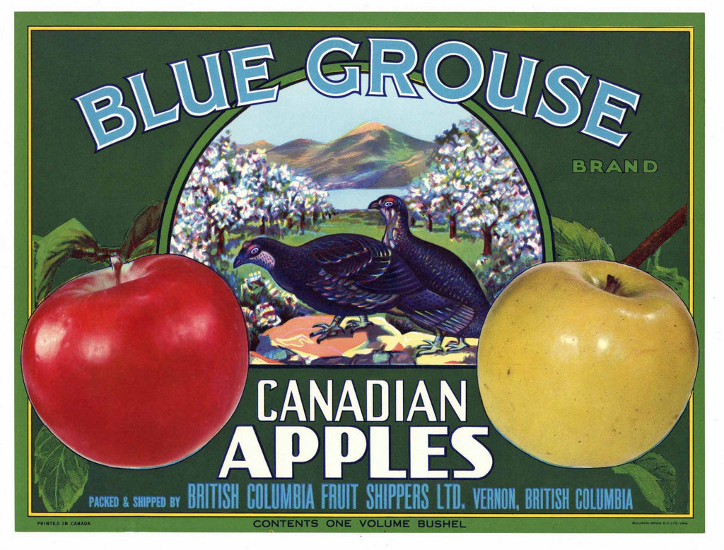 Blue Grouse Brand Vintage Canadian Apple Crate Label