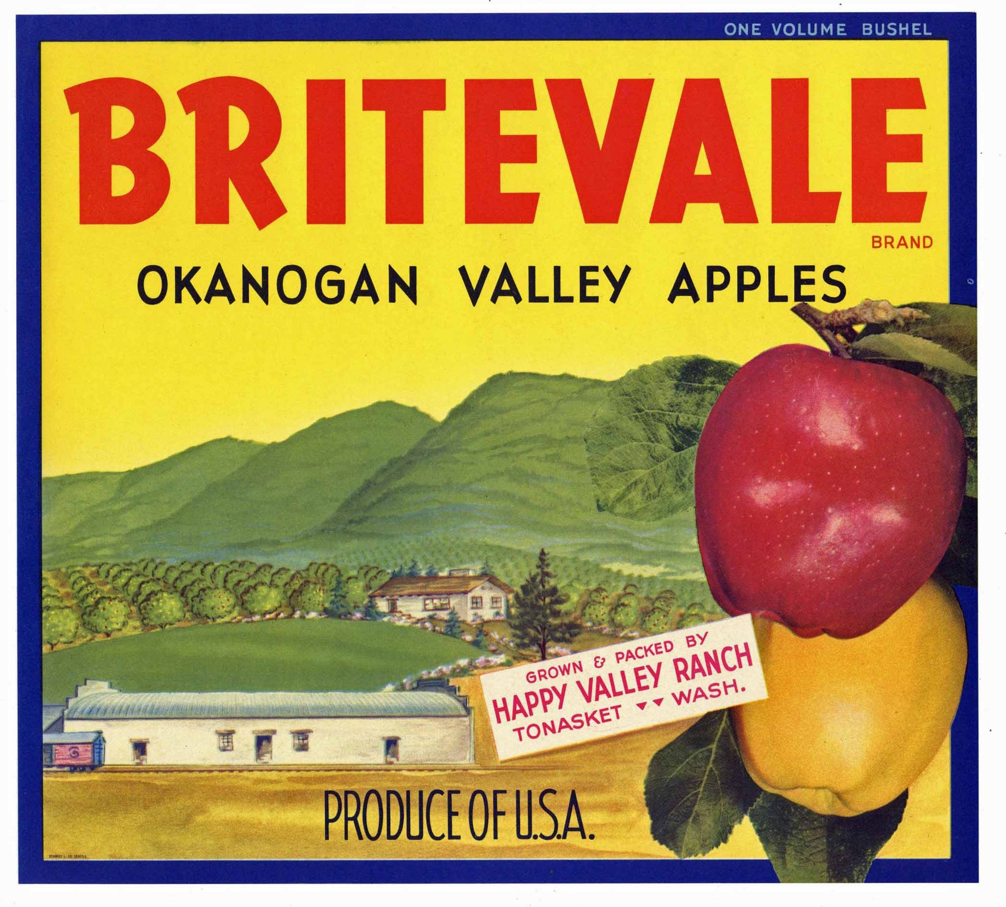 Britevale Brand Vintage Washington Apple Crate Label