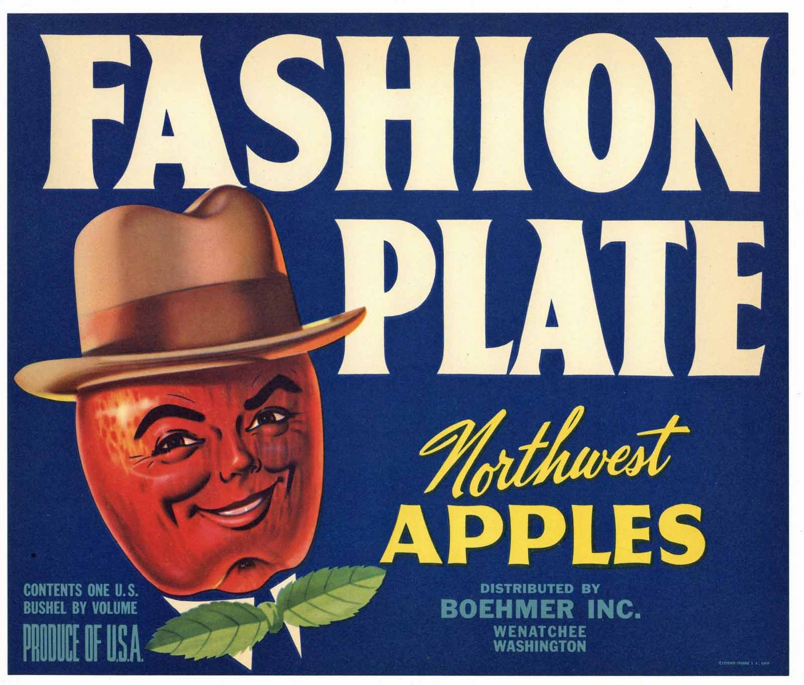 Fashion Plate Brand Vintage Wenatchee Washington Apple Crate Label