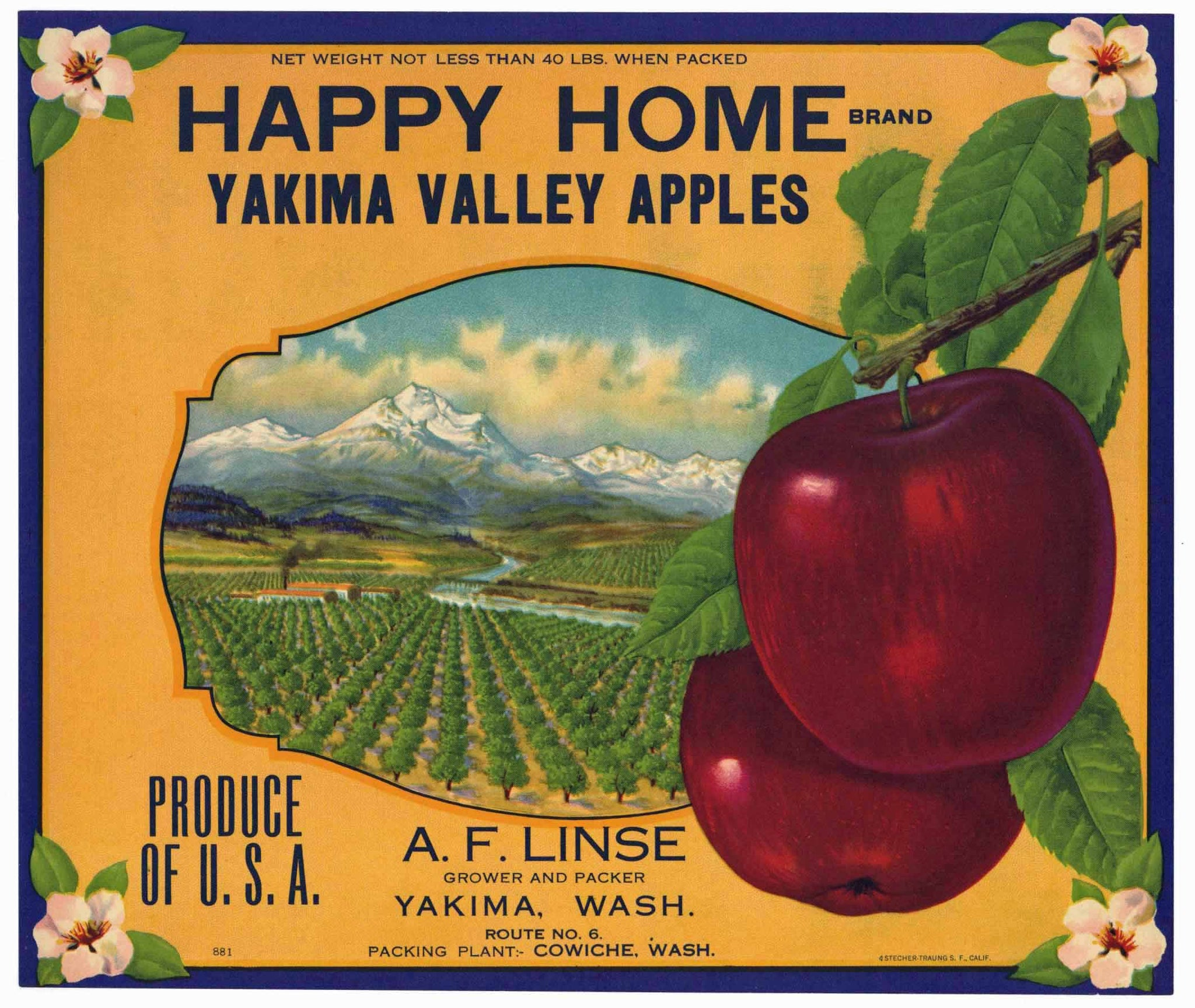 Happy Home Brand Vintage Yakima Washington Apple Crate Label