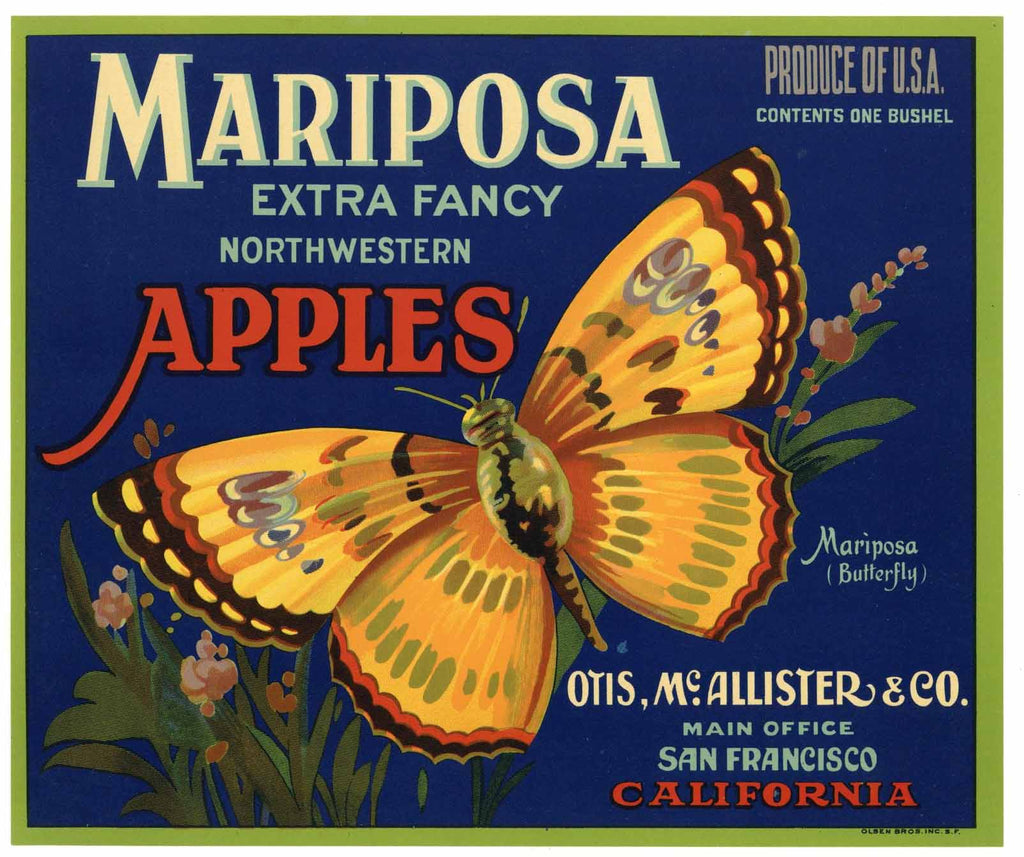Mariposa Brand Vintage Apple Crate Label, Buttefly
