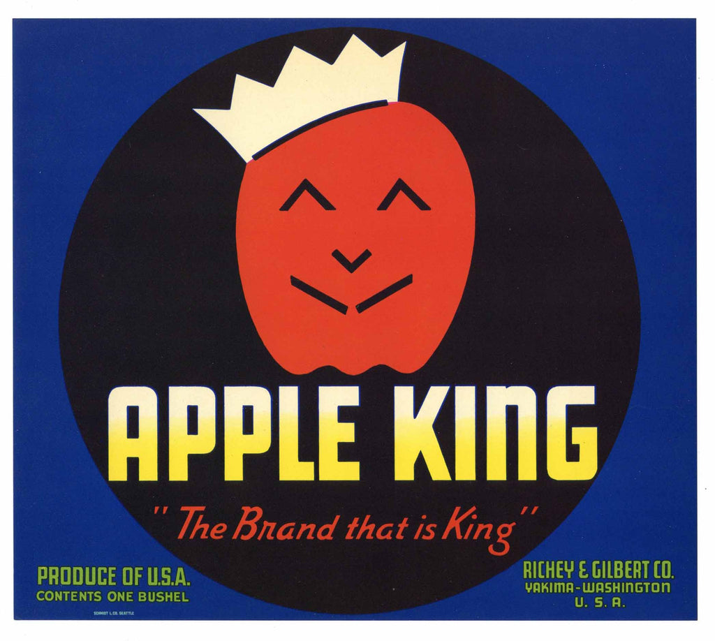Apple King Brand Vintage Yakima Washington Apple Crate Label